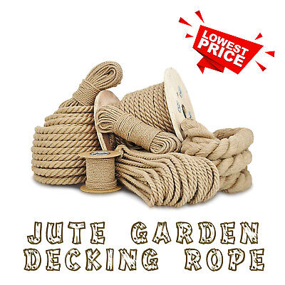 Natural Jute Rope Twisted Hessian Braided Decking Garden Boating Sash 6-40mm HQ • 1.86£
