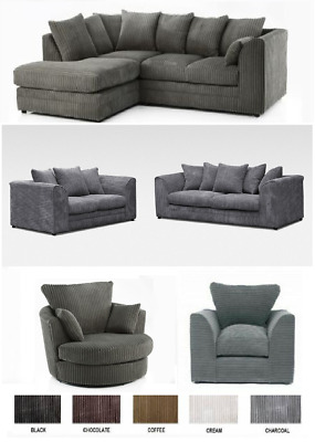 *sale Chicago Left Hand Jumbo Cord Corner / 3 2 Seater  Sofa Swivel 5 Colours Uk • 400£
