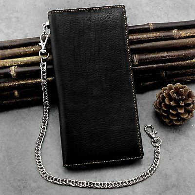 $ CDN22.81 • Buy Guarantee Real Leather Long Card / Money Wallet Clutch Purse With Metal Chain