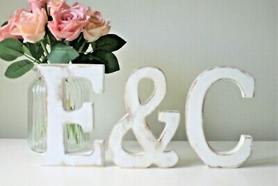 £2.50 • Buy LARGE SHABBY CHIC LETTERS VINTAGE NAMES WHITE WOODEN 15cm TALL A-Z  ALPHABET