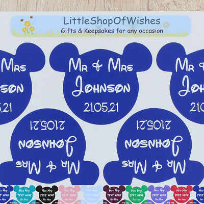 Fairytale Wedding Stickers Mouse Head Favours Personalised Vinyls Decals Labels • 2.99£
