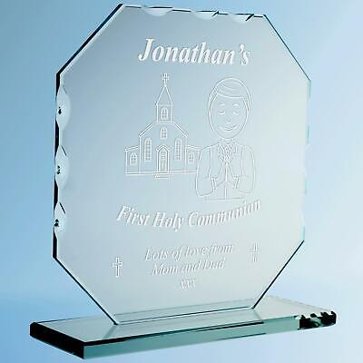 Engraved Boys First Holy Communion Congratulations Cut Glass Frame Plaque Gift • 19.99£