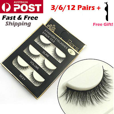AU5.39 • Buy 12 Pairs Soft Natural Cross Thick Long False Fake Eyelashes Extension Eye Lashes