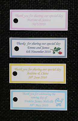 £3.95 • Buy 50 X Personalised Wedding Favour Tags, Christening, Hen, Gift Tags - Any Colour