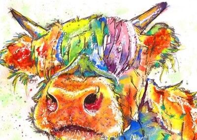 £26.99 • Buy Cow Colourful Animal Wall Art Printed On Canvas 22'' X 16  Solid Frame