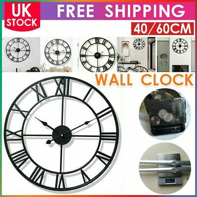 £4.69 • Buy Large Outdoor Garden Wall Clock Roman Large Numeral  60CM Round Open Face Black