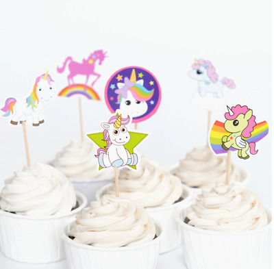 AU6.50 • Buy NEW 24pcs UNICORN CUPCAKE TOPPERS BIRTHDAY PARTY PACK LOLLY LOOT SUPPLIES
