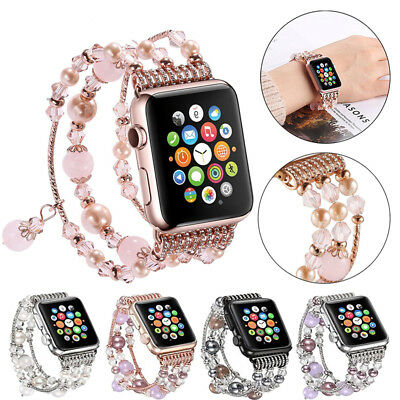 AU18.99 • Buy 40/44 Bling Agate Beads Strap For Apple Watch Band IWatch Series SE 6 5 4 3 2 1