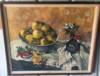 £53.24 • Buy 1940's New York Graphic Society Gauguin Canvas Print Of Still Life With Apples