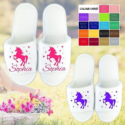 AU9.91 • Buy Unicorn White Open Toe Slippers - Personalised Name Novelty Spa Day Hen Party