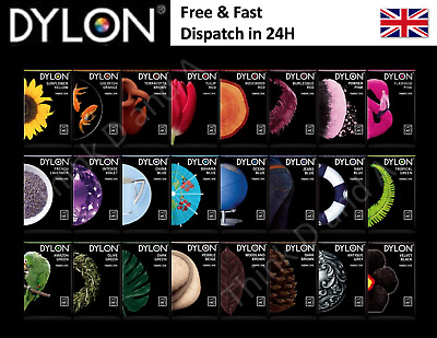 50g PACK DYLON FABRIC CLOTHES HAND WASH DYE COLOURING CHANGING COLOUR TO CHOOSE • 4.48£