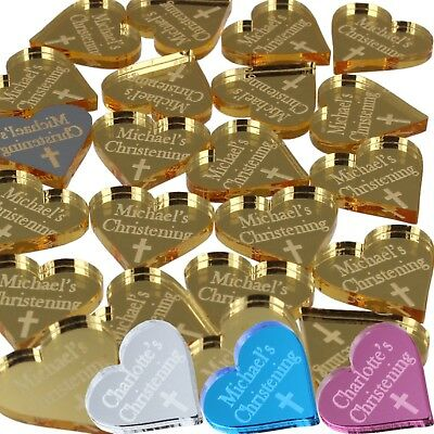 £10.99 • Buy Personalised Christening Favours For Boys Girls Cross Hearts Baptism Decorations