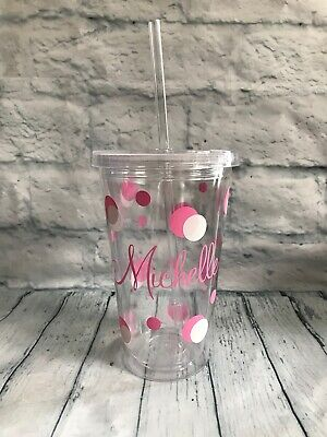 £11 • Buy Personalised Name & Spots Tumbler Cup With Straw & Lid An All Occasion Gift