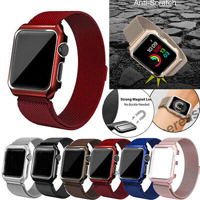 AU19.64 • Buy Milanese Stainless Steel IWatch Band+Cover Case Apple Watch Series 6 5 4 3 2 1SE