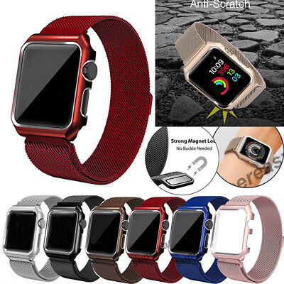AU17.69 • Buy Milanese Stainless Steel IWatch Band+Cover Case Apple Watch Series 6 5 4 3 2 1SE