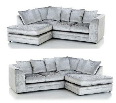 £369 • Buy Crushed Velvet Sofa Corner Suite 3 2 Seater Swivel Armchair Silver Set Chairs