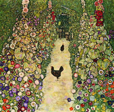 $ CDN26.06 • Buy Gustav Klimt Garden Path With Chickens Poster Reproduction Giclee Canvas Print