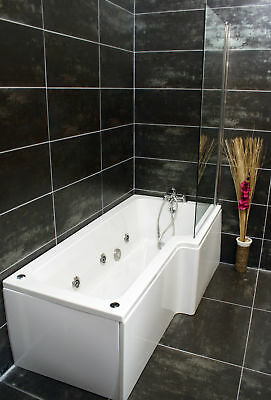 Right Hand L Shape Jacuzzi Type Spa Bath & Screen With Whirlpool & Light • 564.99£
