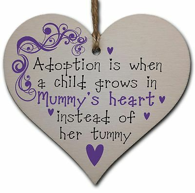 £3.49 • Buy Handmade Wooden Hanging Heart Plaque Gift To Celebrate Adoption