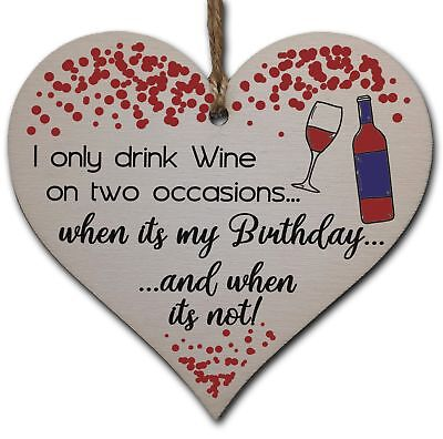 £3.49 • Buy Handmade Wooden Hanging Heart Plaque Gift For Wine Lovers Novelty Funny Birthday