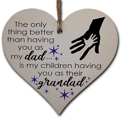 £3.49 • Buy Handmade Wooden Hanging Heart Plaque Gift For Dad This Fathers Day Thoughtful Ke