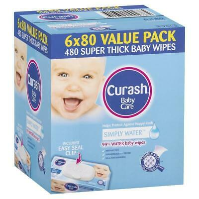 AU19.99 • Buy Curash Babycare Simply Water Wipes 6 X 80