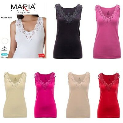£4.99 • Buy Ladies Plain Cotton Wide Strap Vest Top Lace Trim Neck Design Cami Tank Camisole