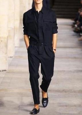 $68.11 • Buy Mens Fashion Stage Show Jumpsuit Lapel Long Sleeve Single-Breast Jumper Trousers
