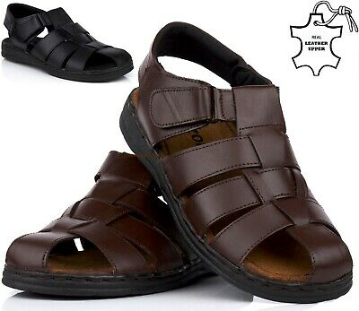 Mens Leather Walking Touch Strap Summer Beach Mules Gladiator Sandals Shoes Size • 16.95£