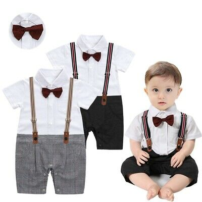 £11.99 • Buy Baby Boy Toddler Bow Tie Short Sleeve Gentleman Bodysuit Outfit 3- 24 Months