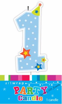 AU3.95 • Buy 1st Birthday Blue Candle Baby Boy Stars Number One First Cake Topper Decoration