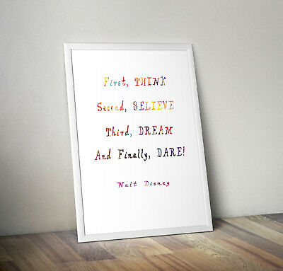 First Think Second, Print, Poster, Disney Quote, Wall Art, Gift, Home Decor • 4.25£