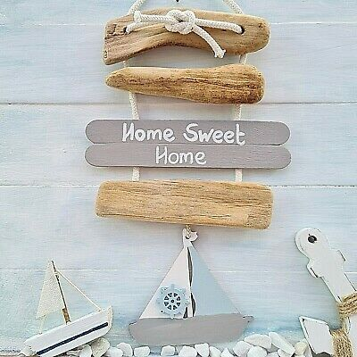 Chic Shabby Nautical Beach Driftwood Home Sweet Home Boat Plaque Sign • 9.99£