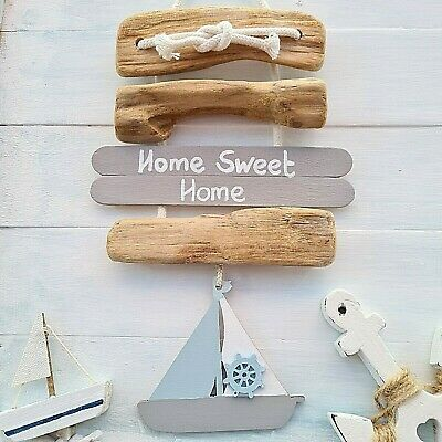 Chic Shabby Nautical Beach Driftwood Wooden Home Sweet Home Heart Plaque Sign • 8.99£