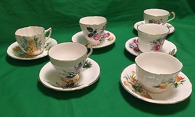 Vintage Royal Windsor Floral Theme Tea Cups & Saucers - Set Of 6 • 82.25£
