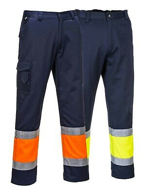 £21.59 • Buy PORTWEST Hi Vis Two Tone Combat Trousers Safety Cargo Contrast Elasticated E049