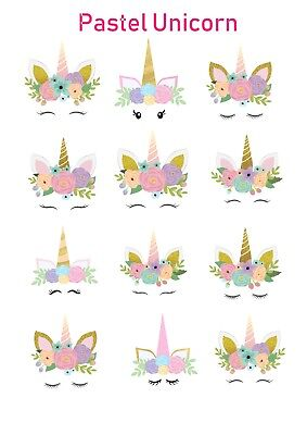 AU6.50 • Buy 1x Unicorn Pastel Temporary TATTOO Sheet. Lolly Loot Bag Party Supplies Cake