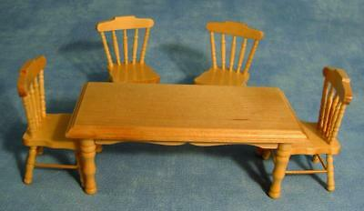 Table And Four Chairs  In Pine.kitchen Table 12th Scale Dolls House Dining Room • 18.50£