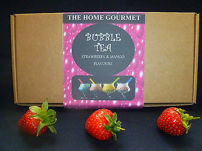 Bubble Tea Making Kit - Strawberry And Mango Flavourings - Biodegradable Straws • 10.50£