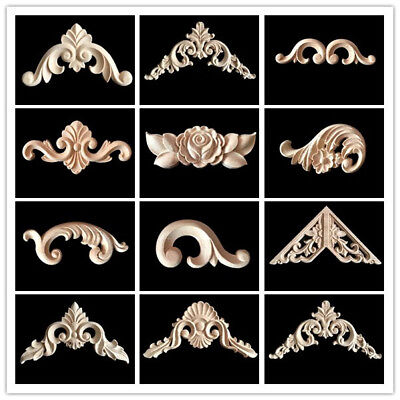 $9.75 • Buy 4Pcs Wood Carved Corner Onlay Applique Unpainted Frame Decal Home Decor Small