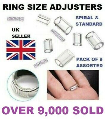 Ring Size Reducers 9 Piece Set Ring Snuggies Snugs Clip Guard Resizer Adjusters  • 2.69£