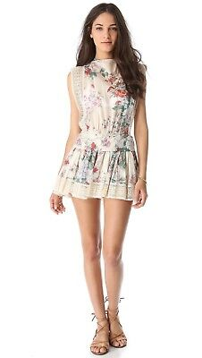 Zimmermann Ivory Cotton Floral Low Back Drop Waist Tunic  Dress Size AU 2 US 6-8 • 219.99$
