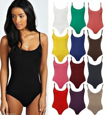 £5.49 • Buy Womens Ladies Stretch Strappy Sleeveless Camisole Vest Bodysuit Leotard Top