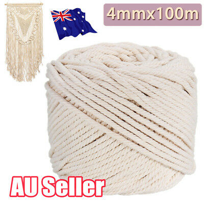 AU22.80 • Buy 4mm Macrame Rope Natural Beige Cotton Twisted Cord Artisan Hand Craft 100M EA