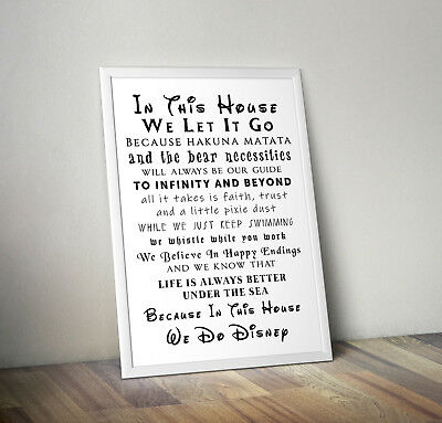 In This House We Do Disney, Print, Poster, Quote, Wall Art, Gift, Home Decor • 4.25£