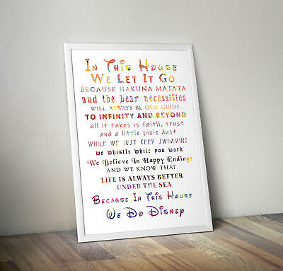 In This House We Do Disney, Print, Poster, Quote, Wall Art, Gift, Home Decor • 2.95£