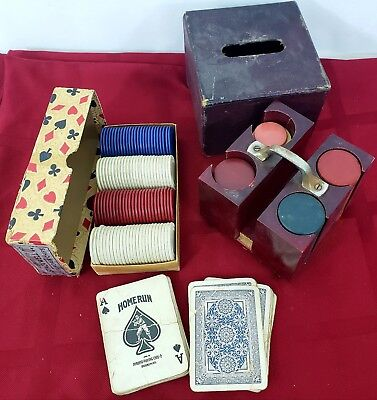 £10.44 • Buy Vintage Clay Poker Chips With Case Plus Harvite Set