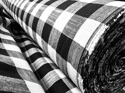 £6.50 • Buy Gingham Linen Checked Linen Fabric Plaid Material Buffalo Black Check 140cm Wide