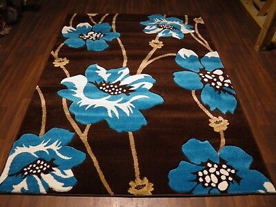 Top Quality New 120x170cm Aprox 6x4ft Rugs/mat Hand Carved Poppy Brown/teal • 49.99£
