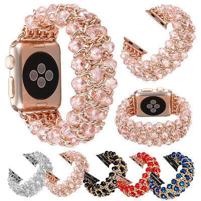 $ CDN21.72 • Buy Crystal Beaded Stretch Elastic Bands Strap For Apple Watch IWatch Series 3 2 1